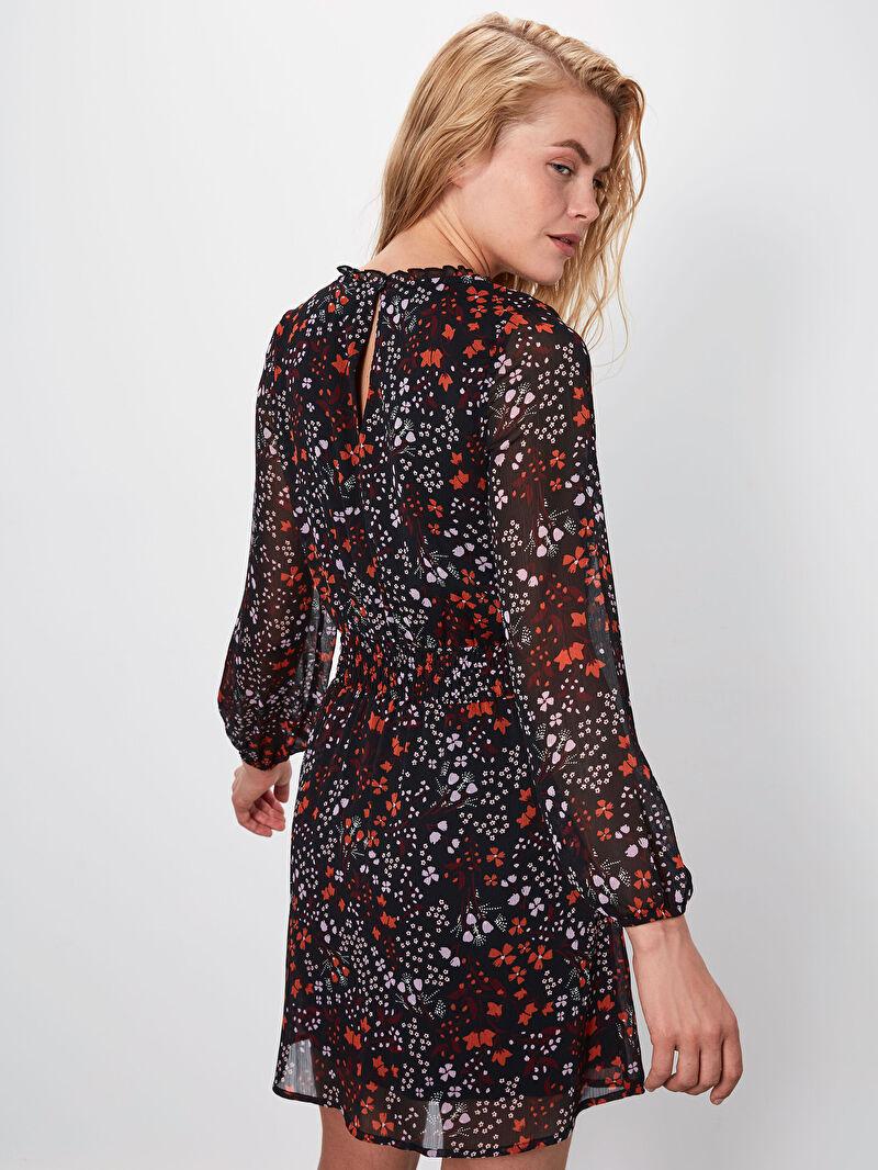 LC Waikiki Siyah Çiçek Desenli Şifon Elbise