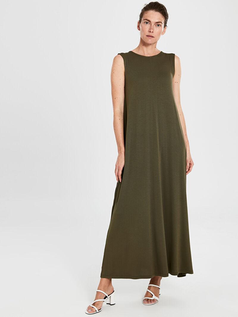 %95 VİSKOZ %5 ELASTAN  A Kesim Penye Elbise Kolsuz Standart Astarsız Uzun Düz Düz Basic Kolsuz Salaş Elbise
