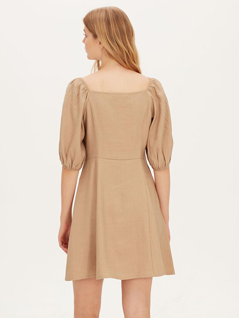 Kadın Düğmeli Karpuz Kol Viskon Elbise