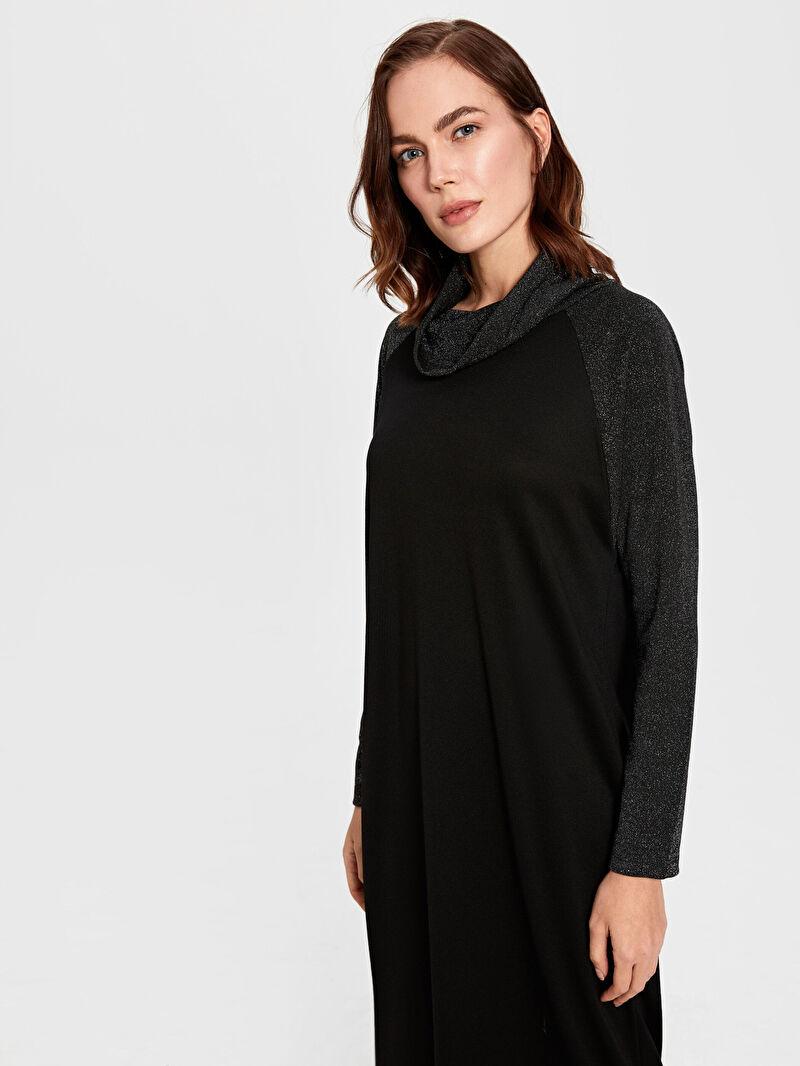 Kadın Işıltılı Degaje Yaka Uzun Elbise