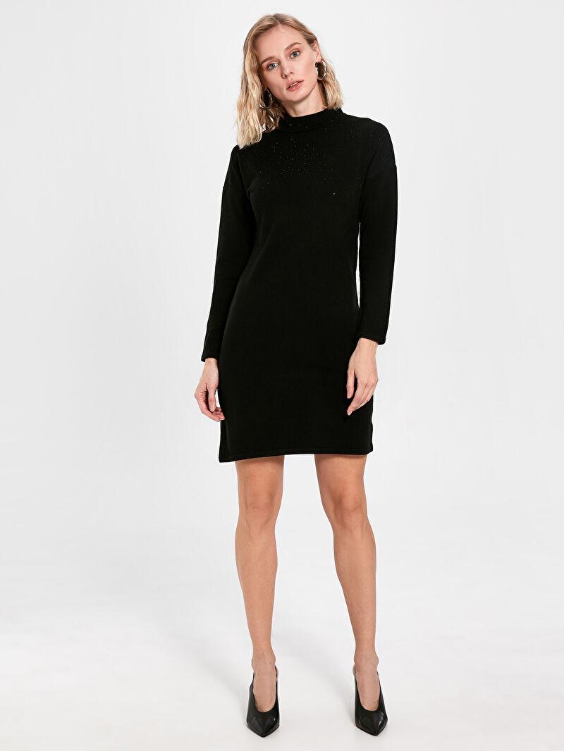 %100 Akrilik  Yarım Balıkçı Yaka Uzun Kol Midi İnce Elbise Baskılı Kapüşonsuz Yarım Balıkçı Yaka Işıltılı Taş Baskılı Uzun Kollu Kadın Elbise