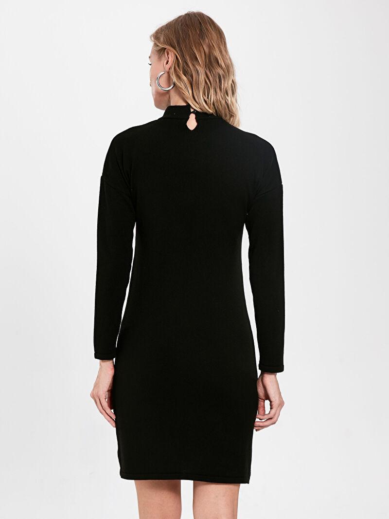 %100 Akrilik  Yarım Balıkçı Yaka Işıltılı Taş Baskılı Uzun Kollu Kadın Elbise