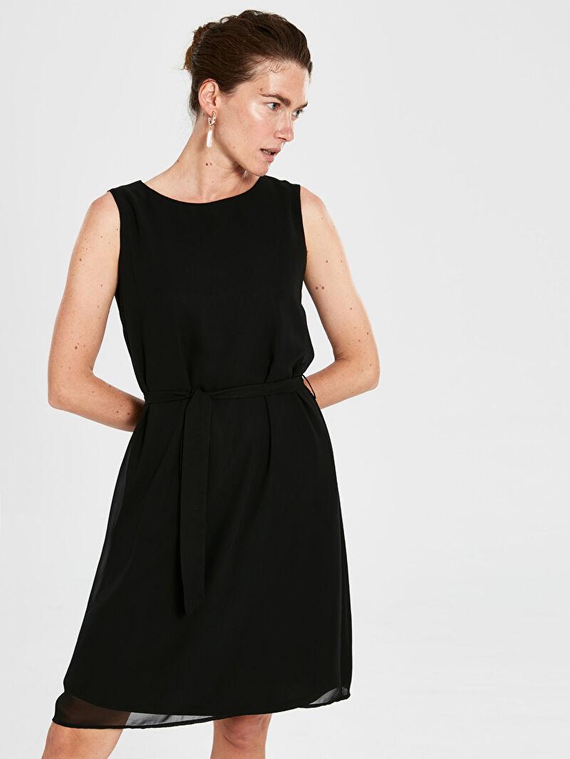 %100 Polyester  %100 Polyester  Elbise Kolsuz Düz Astarlı Midi Standart Şifon Kuşaklı Düz Şifon Elbise