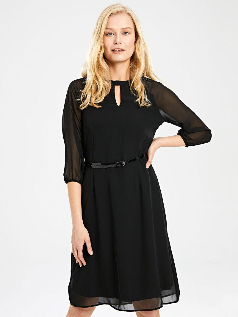 Siyah Kemerli Şifon Elbise 9WQ746Z8 LC Waikiki