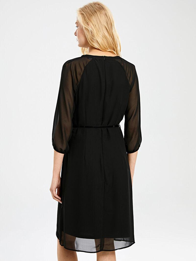 LC Waikiki Siyah Kemerli Şifon Elbise