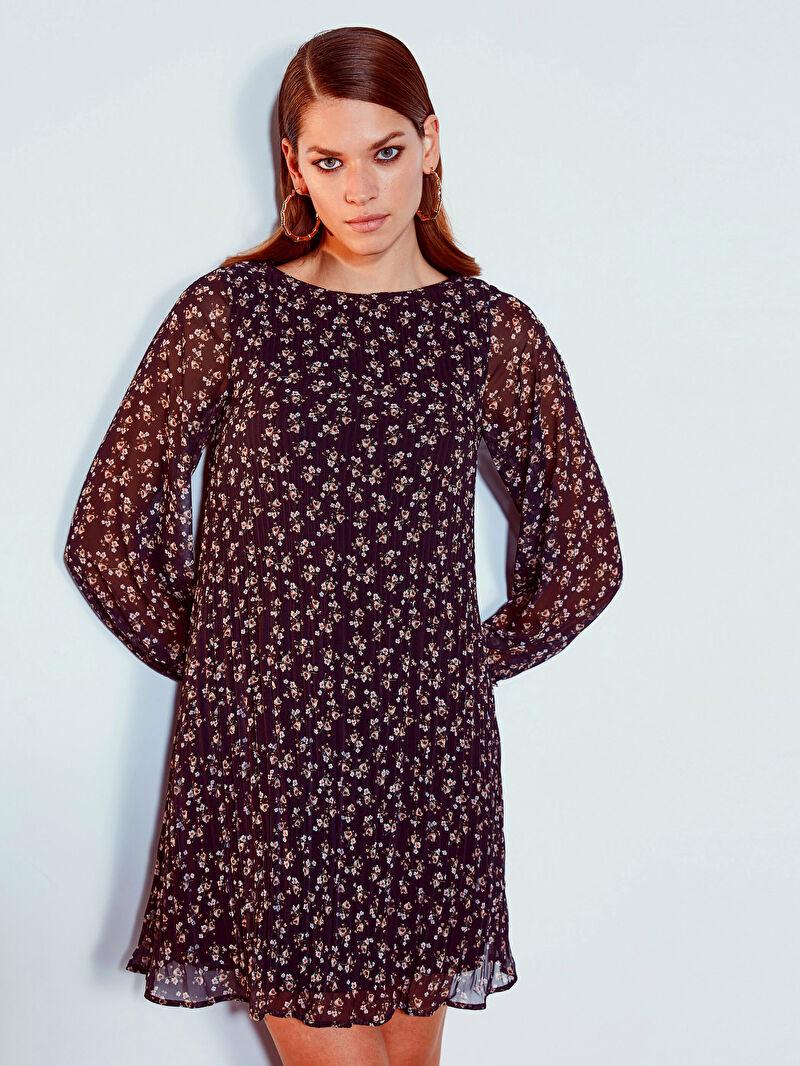 Kadın Çiçek Desenli Pileli Şifon Elbise