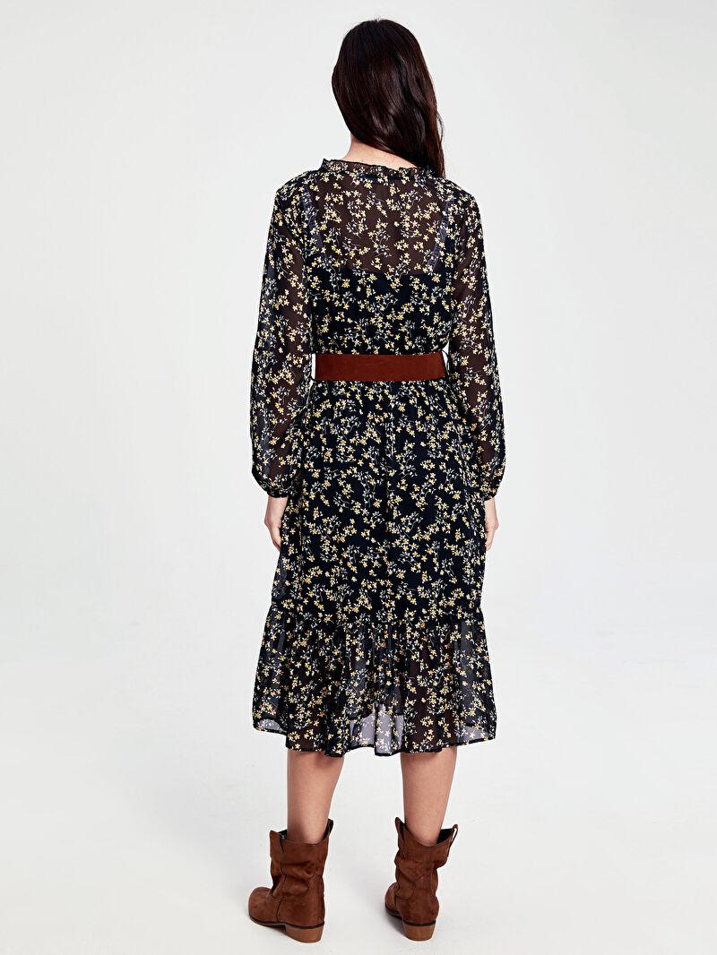 Kadın Kemerli Çiçek Desenli Şifon Elbise