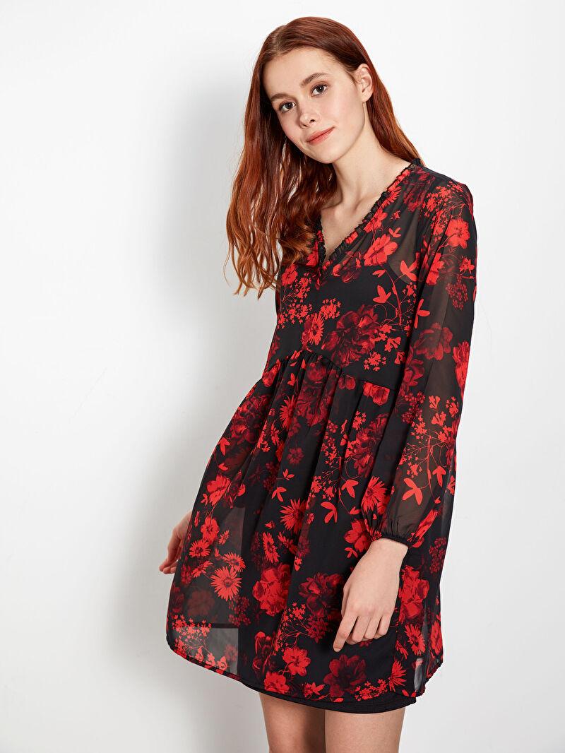 %100 Polyester  %100 Polyester  Casual Uzun Kol Elbise Kısa Normal Bel Çiçekli Çiçek Desenli Şifon Elbise