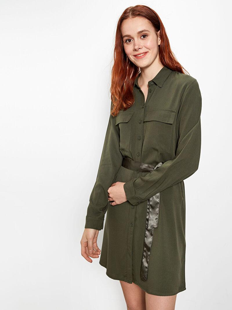 %100 VİSKOZ  %100 Polyester  Elbise Kısa Normal Bel Casual Uzun Kol Düz Gömlek Elbise Kuşaklı Viskon Mini Elbise