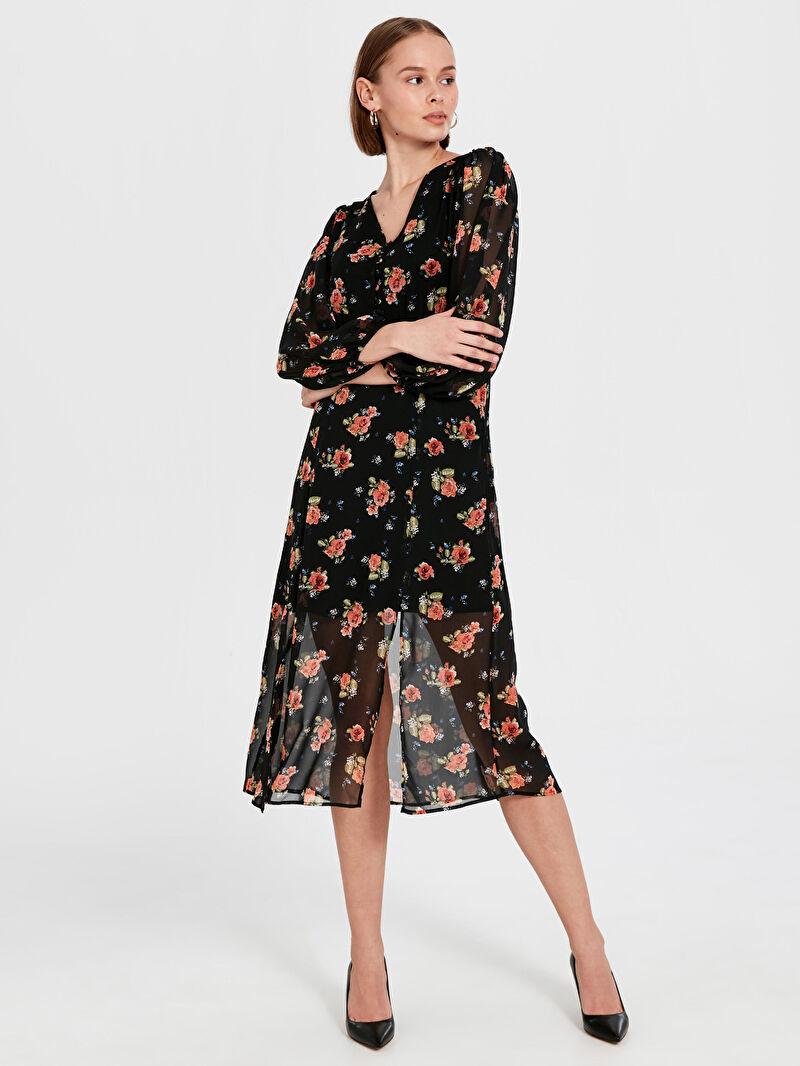 Siyah Çiçek Desenli Balon Kol Şifon Elbise 9WT953Z8 LC Waikiki