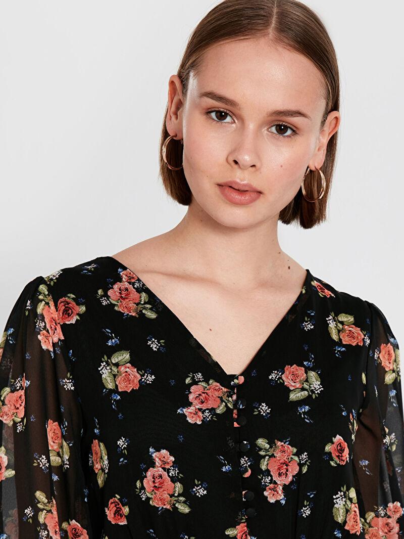 %100 Polyester  Çiçek Desenli Balon Kol Şifon Elbise