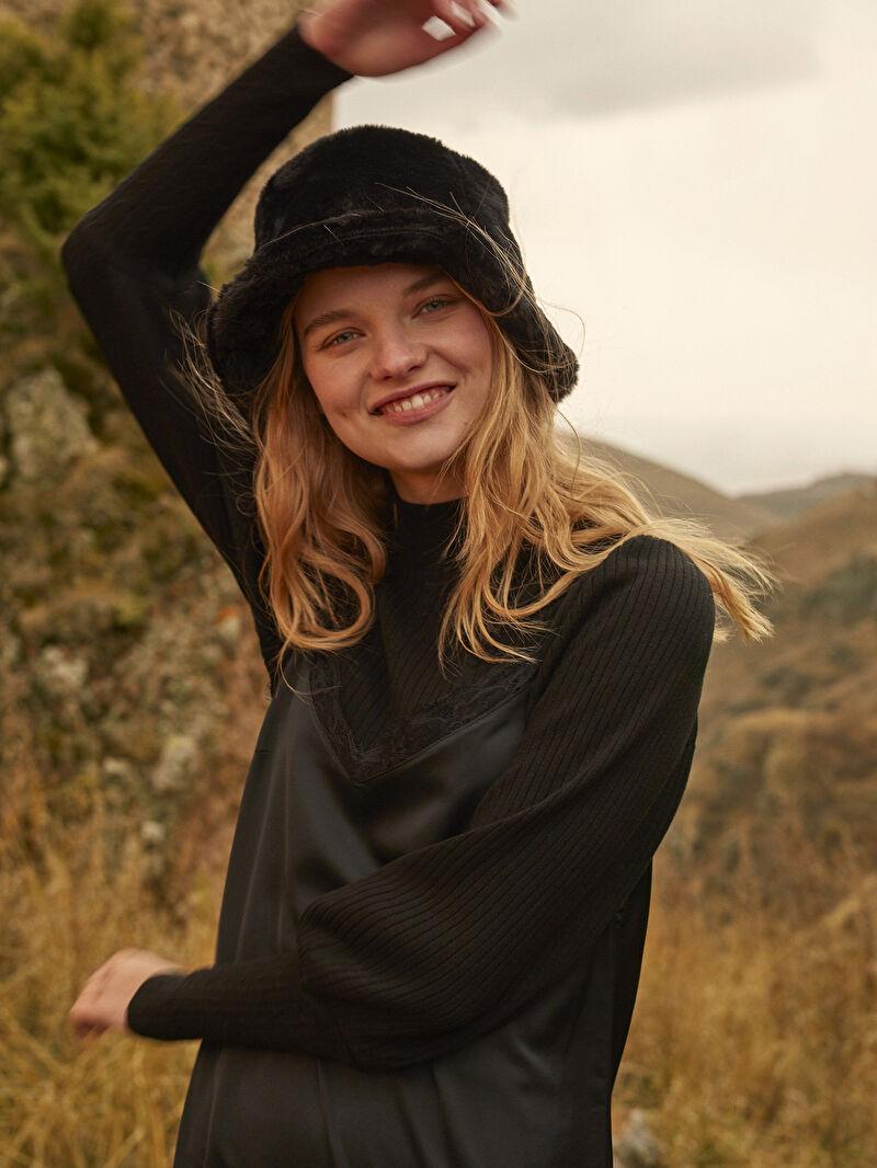 Kadın Pelüş Bucket Şapka