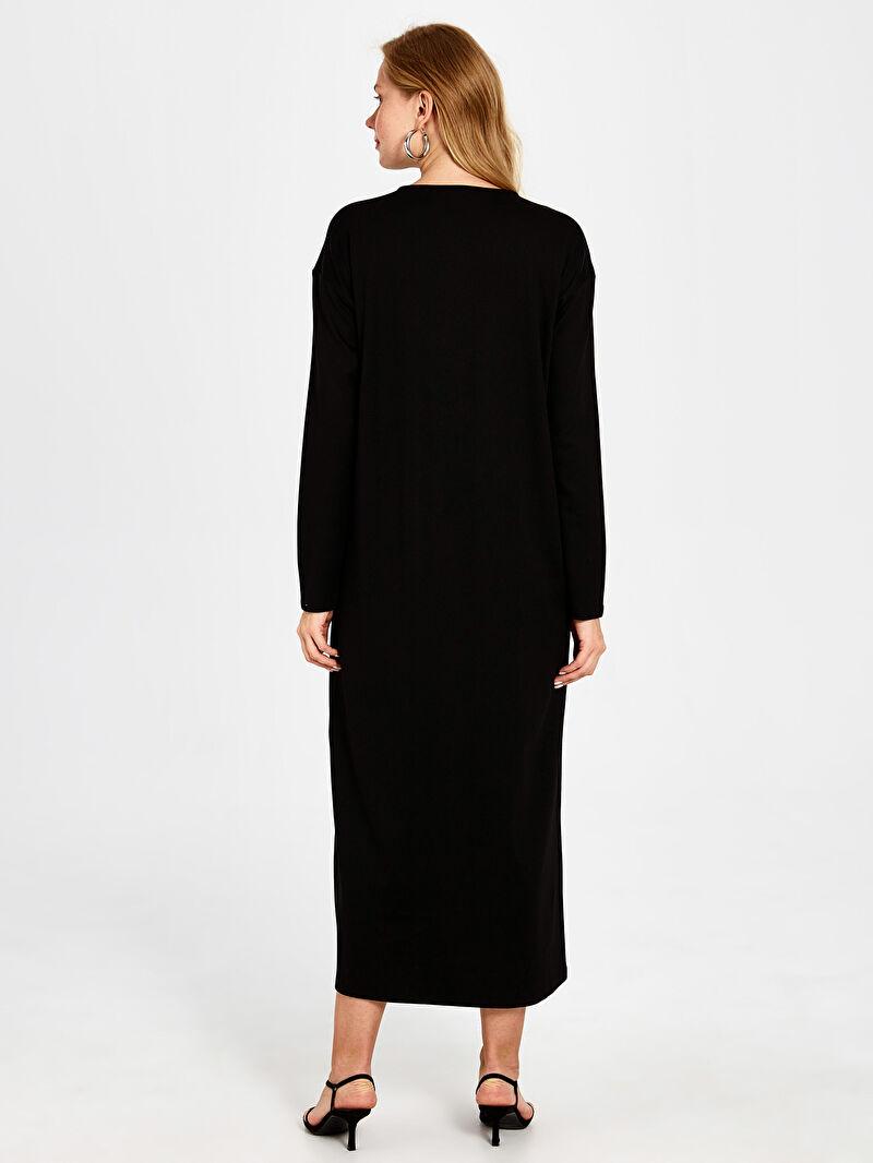 Kadın Düğme Detaylı Uzun Elbise