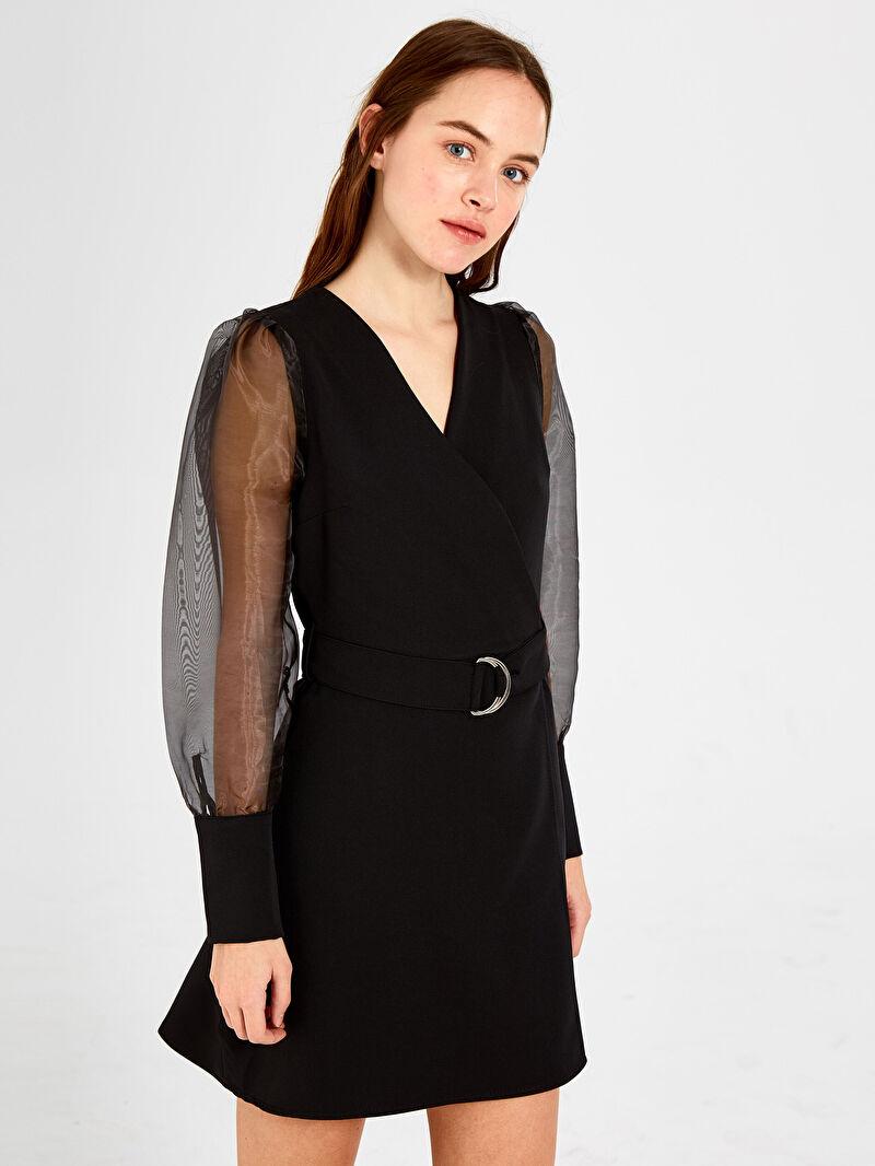 Siyah Nisan Triko Kolları Tül Detaylı Kuşaklı Elbise 9WB459Z8 LC Waikiki