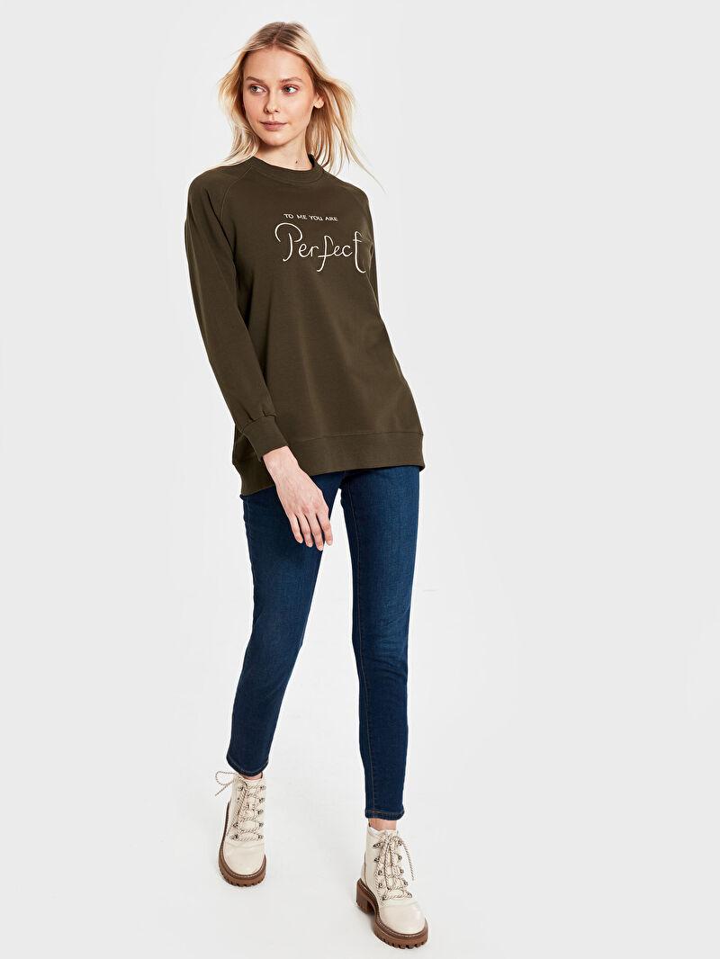 Kadın Allday Yazı Nakışlı Sweatshirt