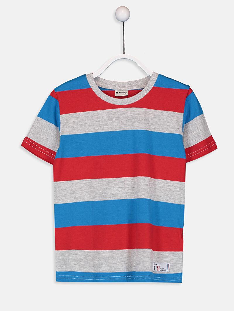 Gri Erkek Çocuk Çizgili Basic Tişört 9W1909Z4 LC Waikiki
