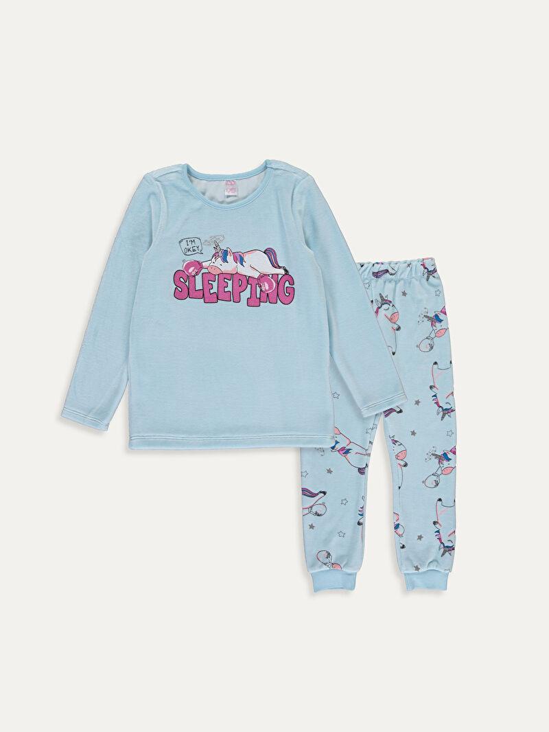 Mavi Kız Çocuk Baskılı Kadife Pijama Takımı 9W6330Z4 LC Waikiki