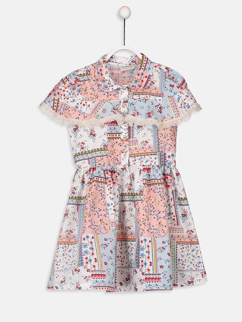 Ekru Kız Çocuk Çiçekli Gömlek Elbise 9W7232Z4 LC Waikiki