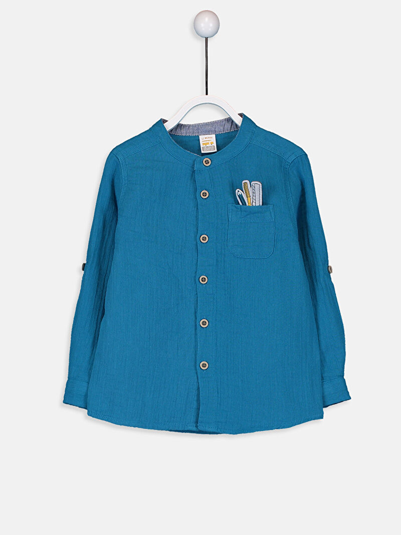 %100 Pamuk  Tam Pat Aksesuarsız Gömlek Gömlek Standart Astarsız Uzun Kol Düz %100 Pamuk Erkek Bebek Gömlek