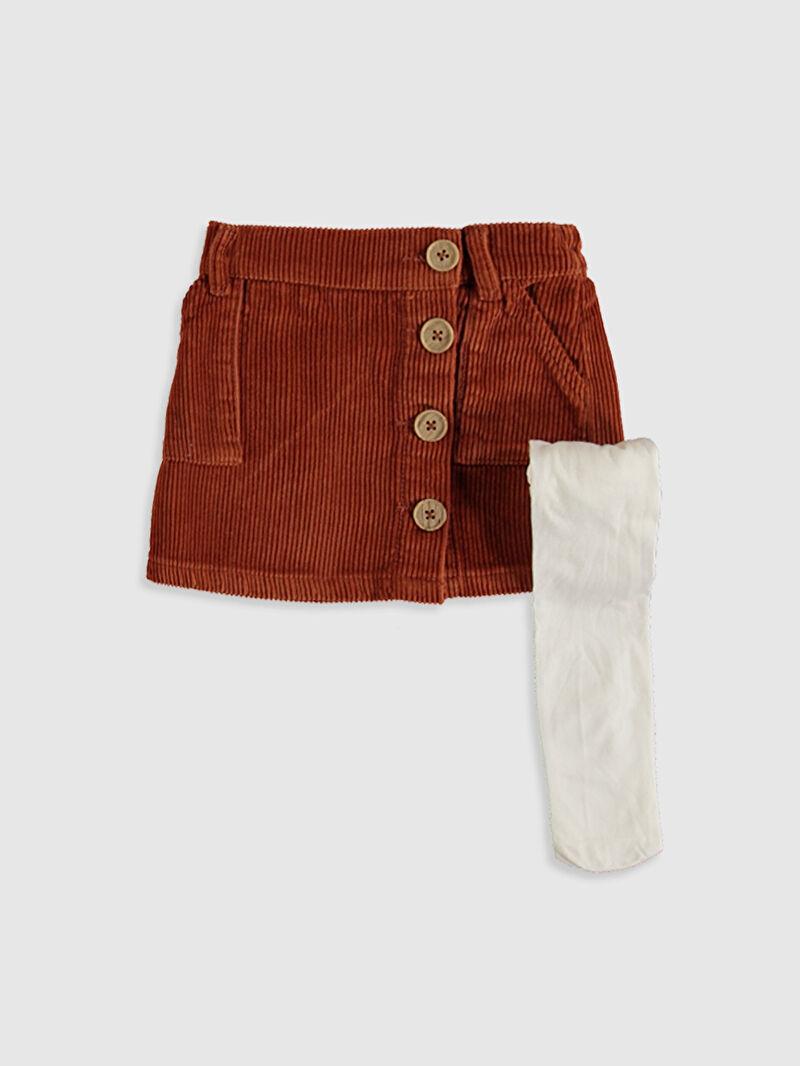 Turuncu Kız Bebek Kadife Etek ve Külotlu Çorap 9WM801Z1 LC Waikiki
