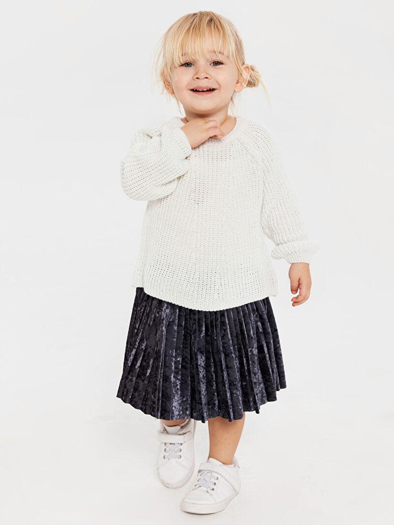 %96 Polyester %4 ELASTAN  Kız Bebek Kadife Etek Anne Kız Kombini