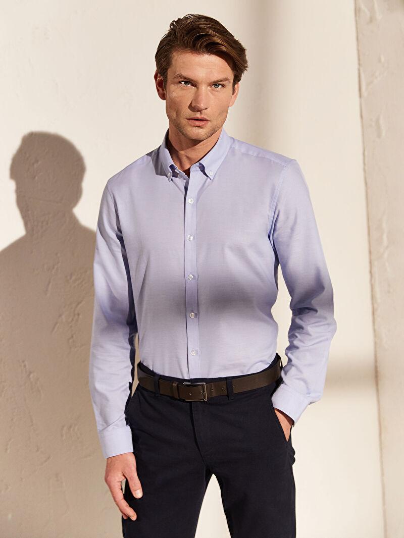 %55 Pamuk %45 Polyester  Gömlek Dar Oxford Uzun Kol Düz İnce Düğmeli Gömlek Yaka Slim Fit Basic Gömlek