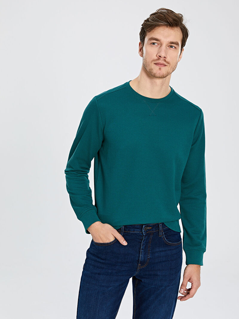 Yeşil Bisiklet Yaka Basic Sweatshirt 0S2955Z8 LC Waikiki