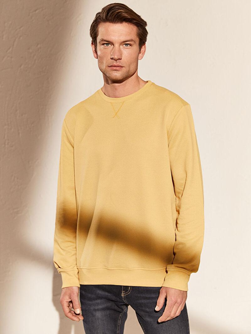 %62 Polyester %38 Pamuk  Sweatshirt Bisiklet Yaka Uzun Kol Yüksek Pamuk İçerir Sweatshirt Kumaşı Bisiklet Yaka Basic Sweatshirt