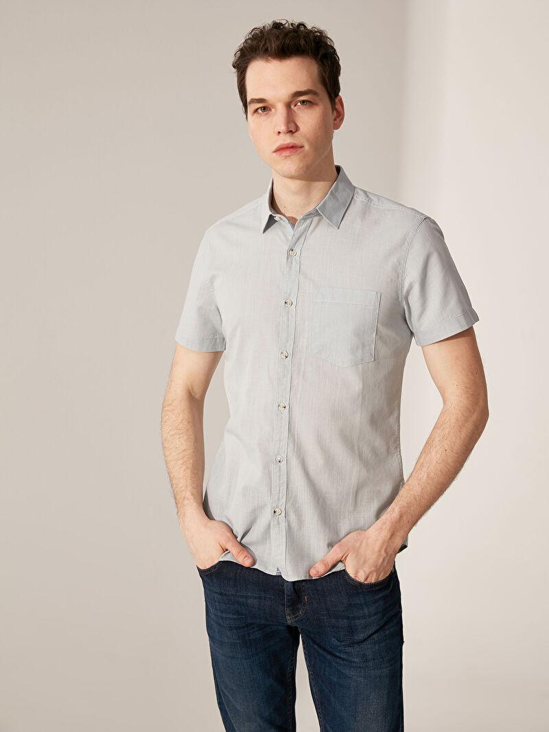 %100 Pamuk  İnce Gömlek Gömlek Gömlek Yaka Kısa Kol Düz Poplin Ekstra Dar %100 Pamuk Ekstra Dar Kalıp Kısa Kollu Poplin Gömlek