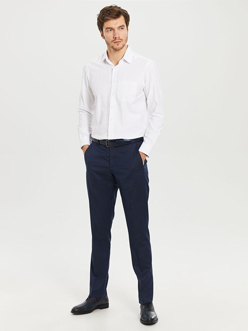 %72 Polyester %25 VİSKOZ %3 ELASTAN  İnce Dar Pantolon Düz Normal Bel Dar Kalıp Takım Elbise Pantolonu