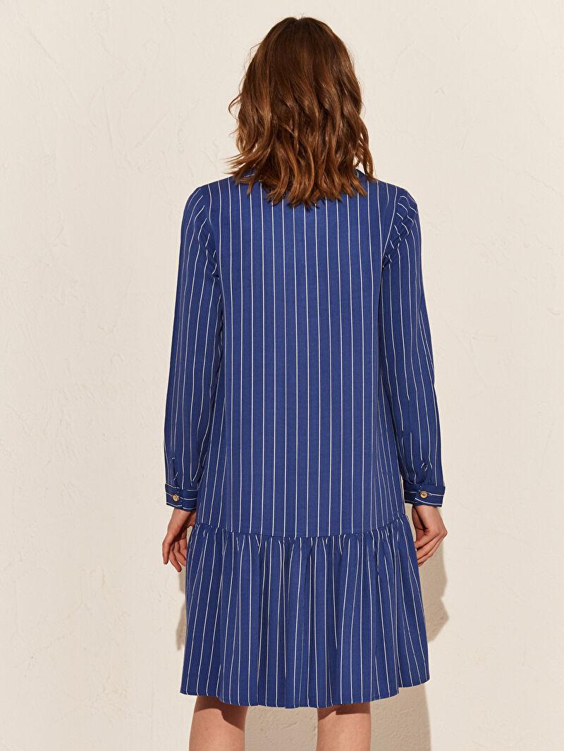 Kadın Volan Detaylı Çizgili Viskon Elbise