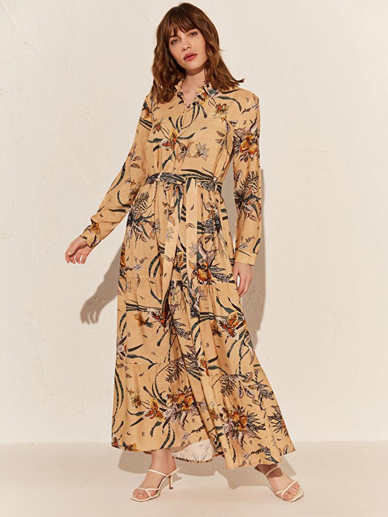 Kadın Çiçek Desenli Kemerli Viskon Elbise