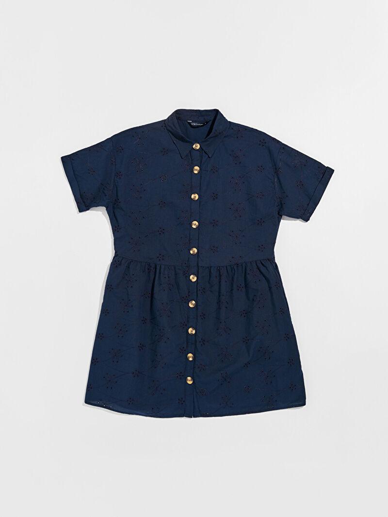 Lacivert Fisto Gömlek Elbise 0SC822Z8 LC Waikiki