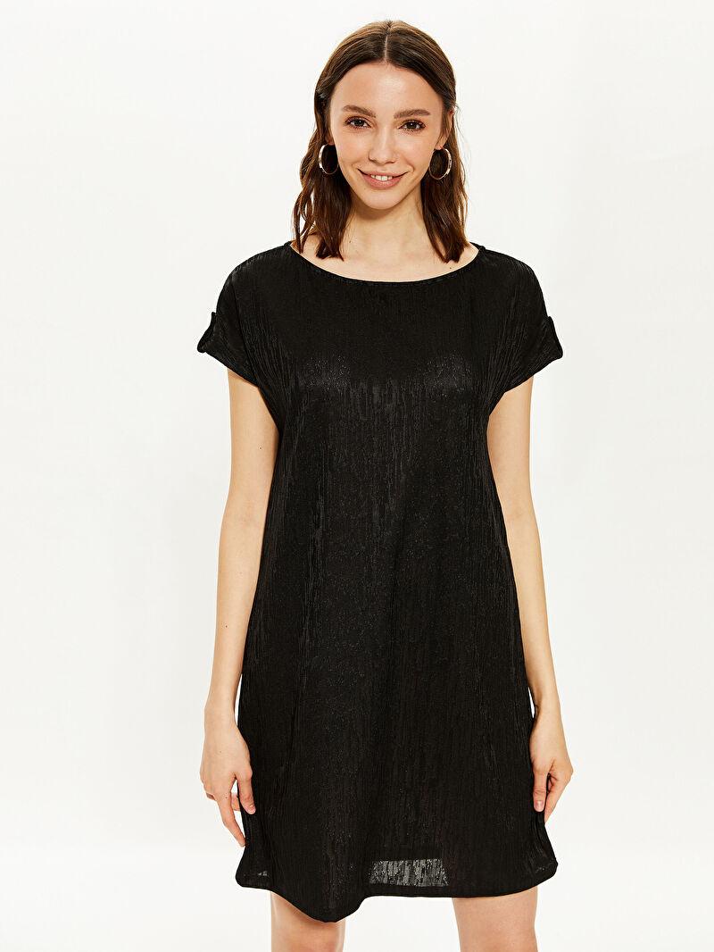 %96 Polyester %4 ELASTAN  Kolsuz Orta Kalınlık Düz Elbise Ofis/Klasik Armürlü Mini Elbise