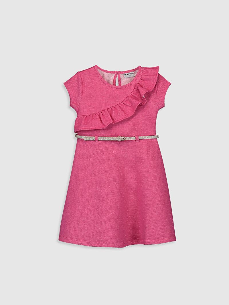 Pembe Kız Çocuk Fırfır Detaylı Elbise ve Kemer 0SM647Z4 LC Waikiki