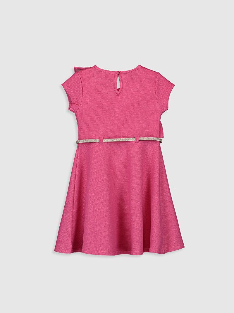 %75 Pamuk %24 Polyester %1 Metalik iplik  %100 Poliüretan  Yüksek Pamuk İçerir Elbise Bisiklet Yaka Düz A Kesim Diz Üstü Orta Kalınlık Kısa Kol Sweatshirt Kumaşı Kız Çocuk Fırfır Detaylı Elbise ve Kemer